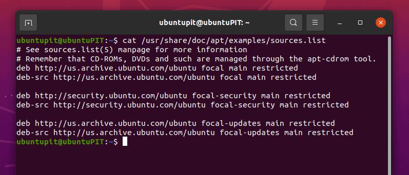 output: cat /usr/share/doc/apt/examples/sources.list