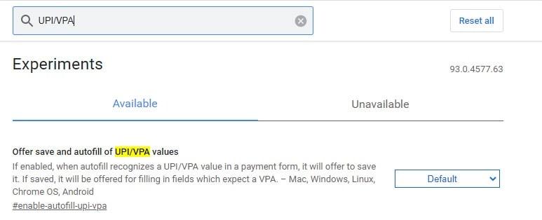 Autofill of UPI VPA values Chrome Flags