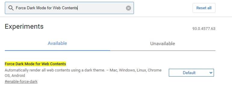 Enable Dark Mode Chrome Flag