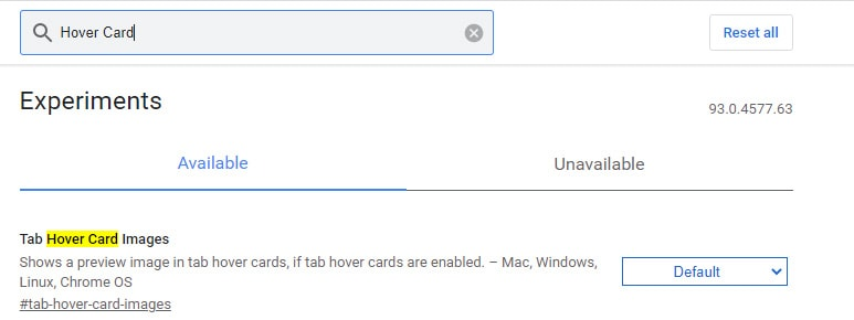 Hover Card _ Chrome Flags