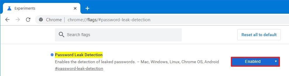 Password Leak Detection Chrome Flag