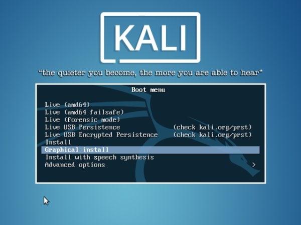 Kali Boot Menu